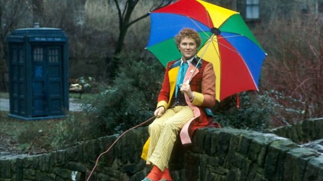 doctor who sixth doctor colin baker costumer colourful coat fishing lake umbrella