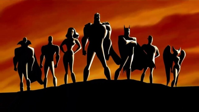 justice league bruce timm dcau lineup silhouette movie pitch dceu dc extended universe batman superman wonder woman