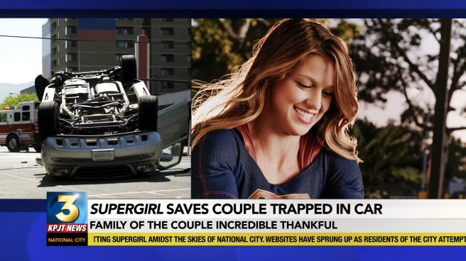 supergirl melissa benoist review news saves couple trapped in car smile