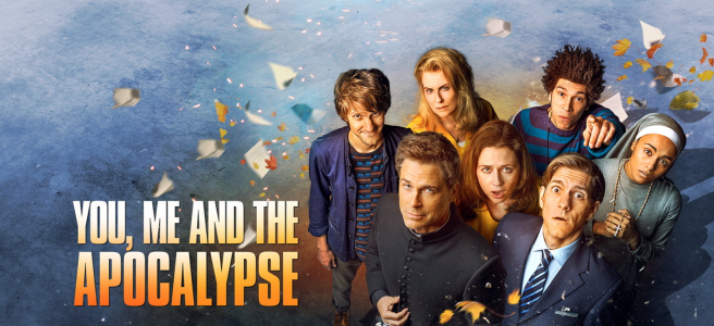 you me and the apocalypse review nbc sky atlantic rob lowe mathew baynton jenna fischer megan mulally joel fry pauline quirke hulu iain holland