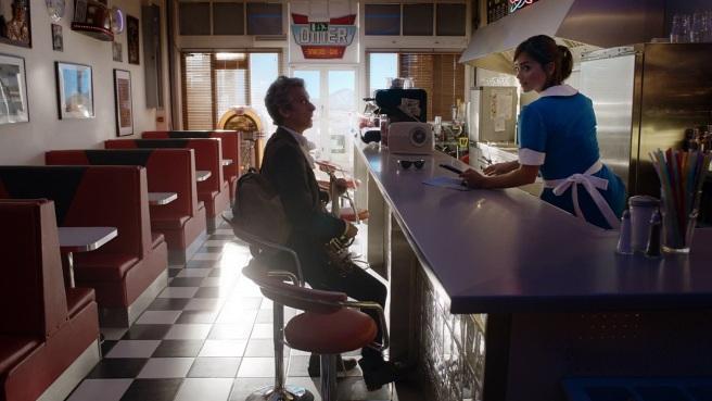 doctor who hell bent review clara oswald waitress american diner tardis jenna coleman peter capaldi twelfth doctor electric guitar nevada