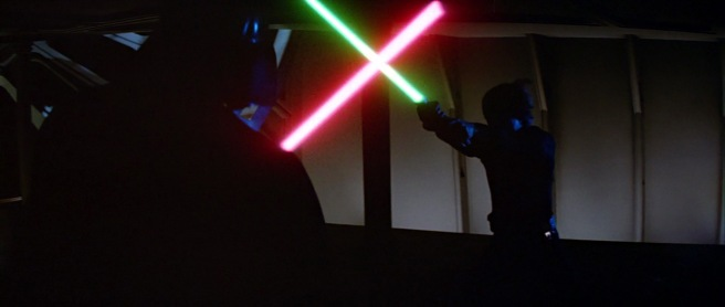star wars return of the jedi darth vader luke skywalker fight green lightsabre death star george lucas original trilogy