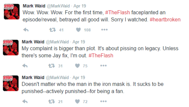 mark waid twitter the flash jay garrick man in the iron mask pissing on a legacy greg berlanti