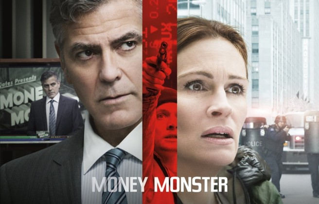 money monster film review lee gates george clooney patty fern julia roberts jack o'connell jodie foster 2016 thriller poster hd dominic west