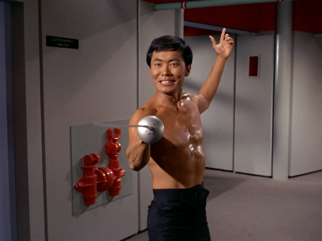 star trek the original series the naked time hd review sulu fencing george takei shirtless sword