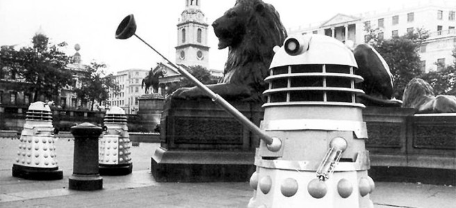 dalek nazi salute allegory invasion of earth trafalgar square lion black and white first doctor who skinheads alt right terry nation david whitaker