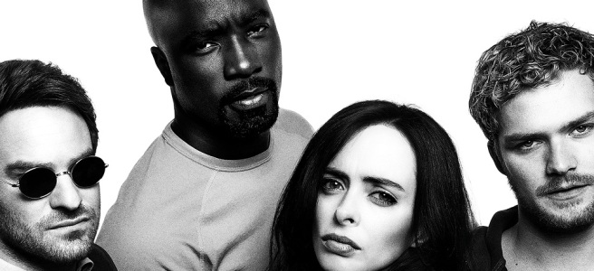 The Defenders marvel netflix daredevil jessica jones luke cage iron fist black and white hd wallpaper Douglas Petrie Marco Ramirez