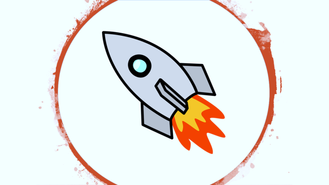 website launch announcement rocket ship cartoon clip art