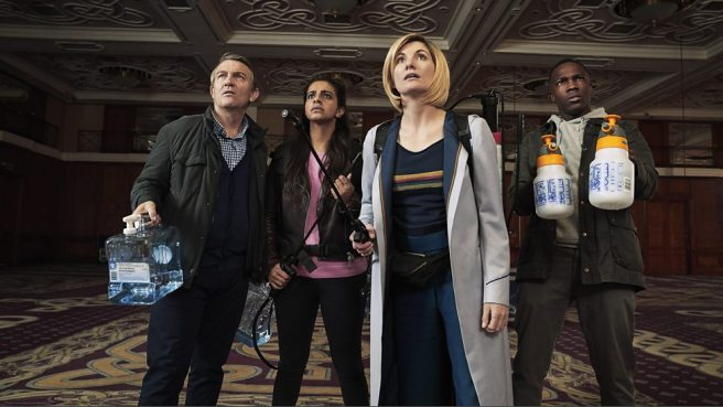 doctor who arachnids in the uk review spiders jodie whittaker bradley walsh tosin cole mandip gill team tardis chris chibnall sallie aprahamian