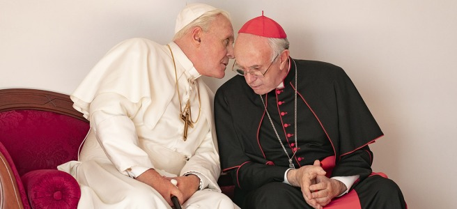 the two popes jonathan pryce anthony hopkins benedict francis netflix review anthony mccarten fernando meirelles